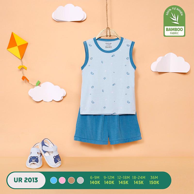 UR2013.1 - Bộ quần áo ba lỗ Uala Rogo vải sợi tre - Màu xanh