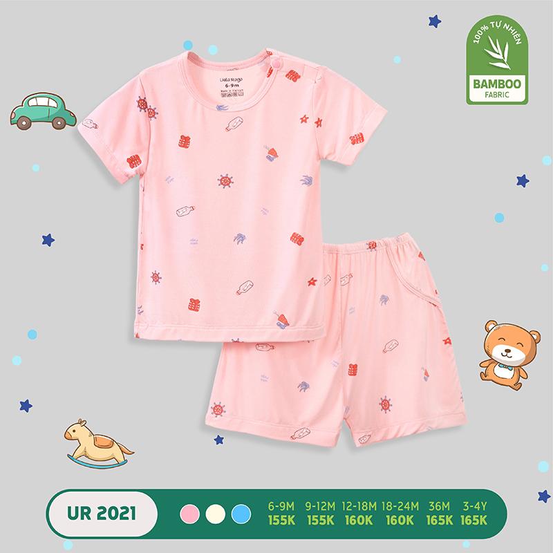 UR2021.3 - Bộ quần áo Uala Rogo cài vai vải sợi tre - Màu hồng