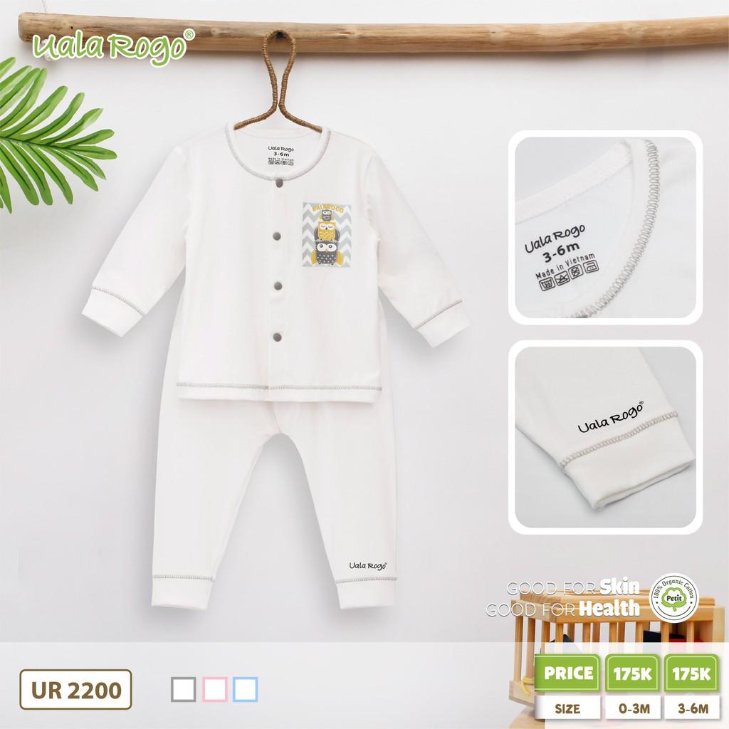 UR2200.3 - Bộ trắng dài tay cho bé vải Petit Uala Rogo - Nút ghi