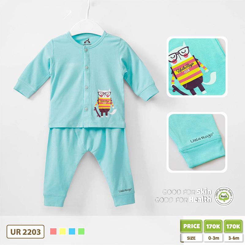 UR2203.4 - Bộ quần áo Uala Rogo cài giữa vải Petit cú mèo - Xanh dương