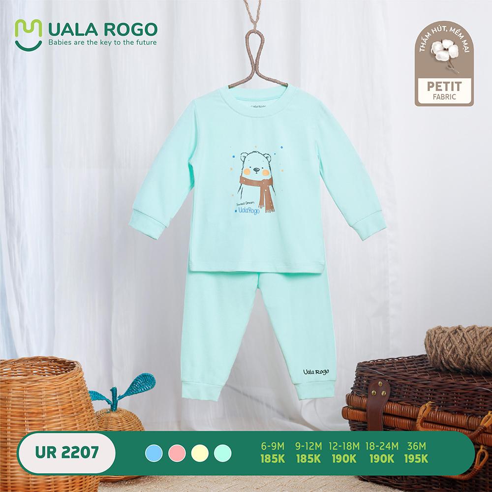 UR2207.4 - Bộ quần áo dài tay hình gấu vải petit Uala Rogo - Màu xanh mint