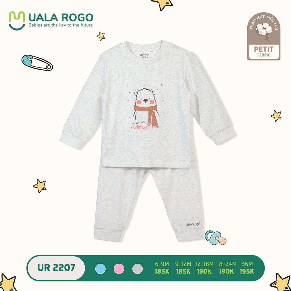 UR2207.5 - Bộ quần áo dài tay hình gấu vải petit Uala Rogo - Màu xám