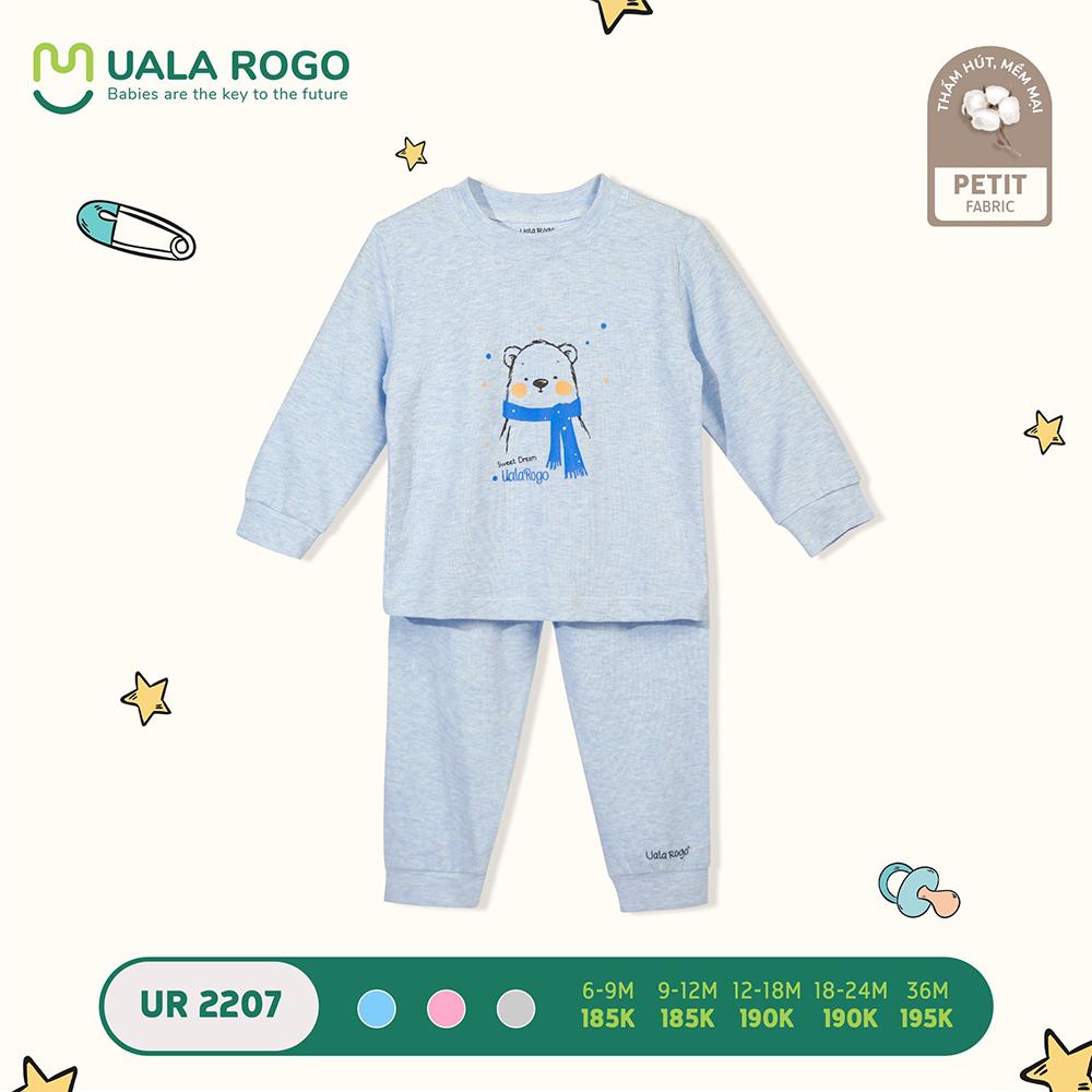UR2207.6 - Bộ quần áo dài tay hình gấu vải petit Uala Rogo - Màu xanh dương