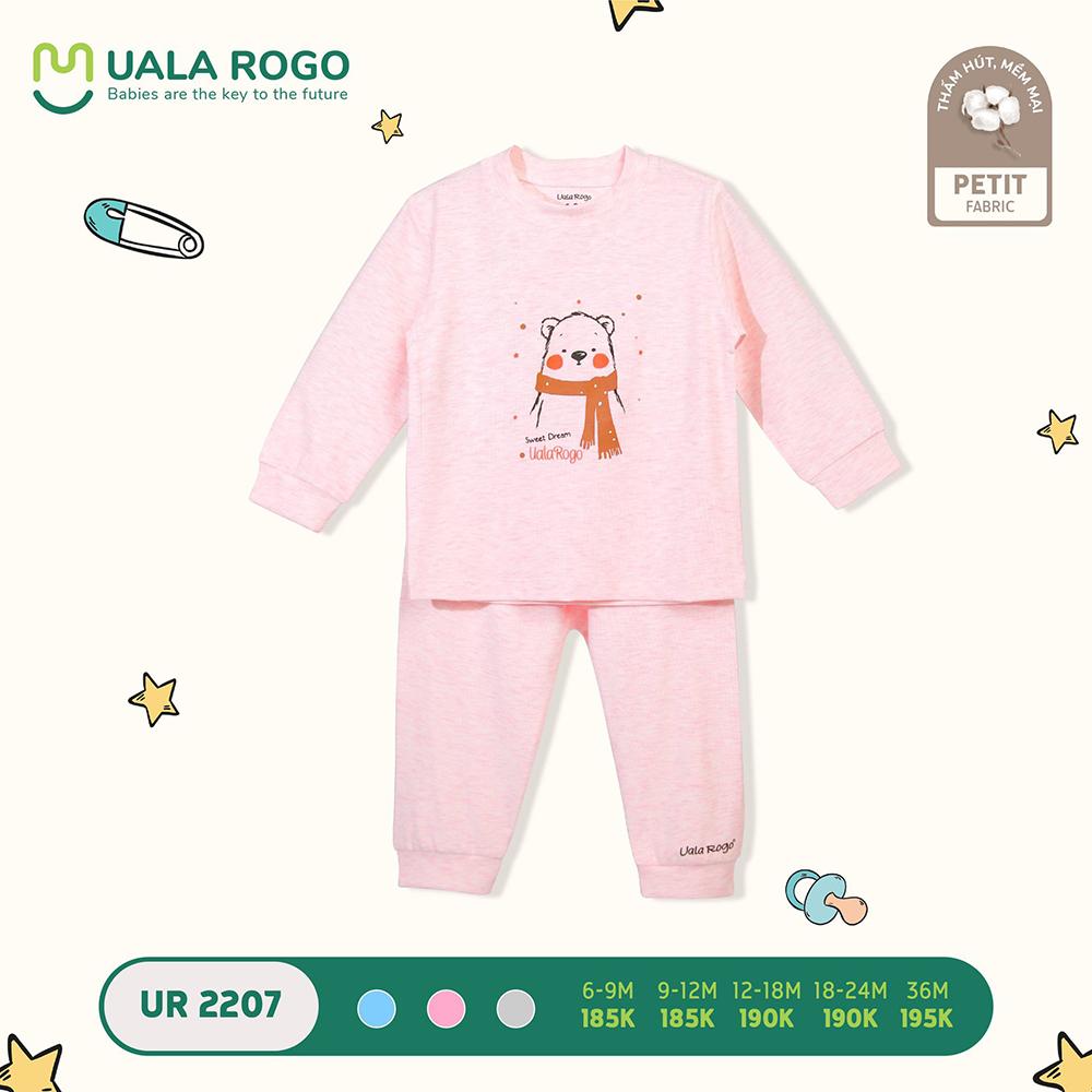 UR2207.7 - Bộ quần áo dài tay hình gấu vải petit Uala Rogo - Màu hồng