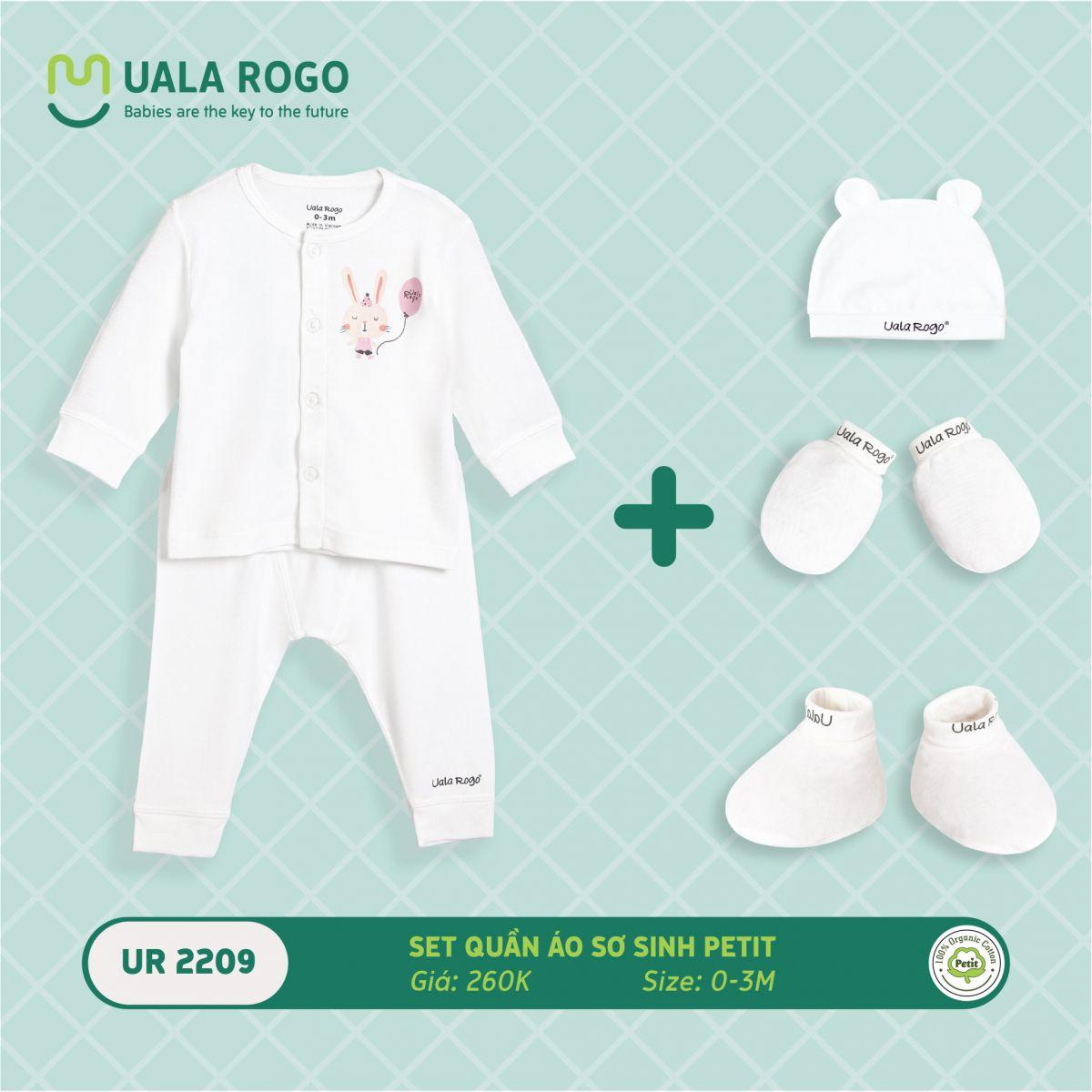 UR2209.2 - Set quần áo sơ sinh vải petit Uala Rogo - Màu trắng họa tiết thỏ hồng