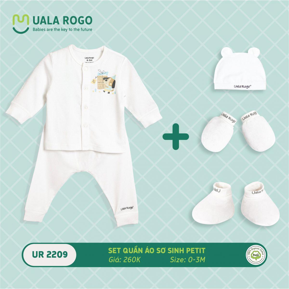 UR2209.3 - Set quần áo sơ sinh vải petit Uala Rogo - Màu trắng họa tiết cún nâu