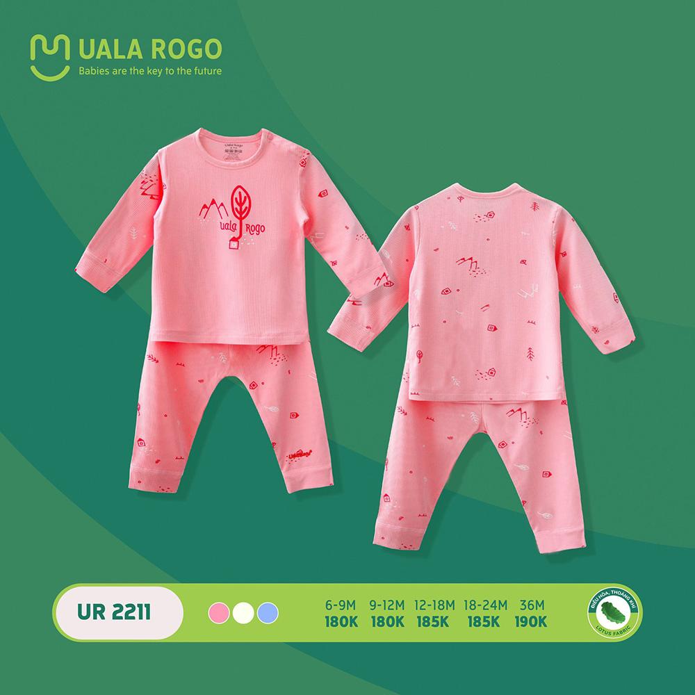 UR2211.1 - Bộ quần áo dài tay sơ sinh vải sợi sen Uala Rogo - Màu hồng