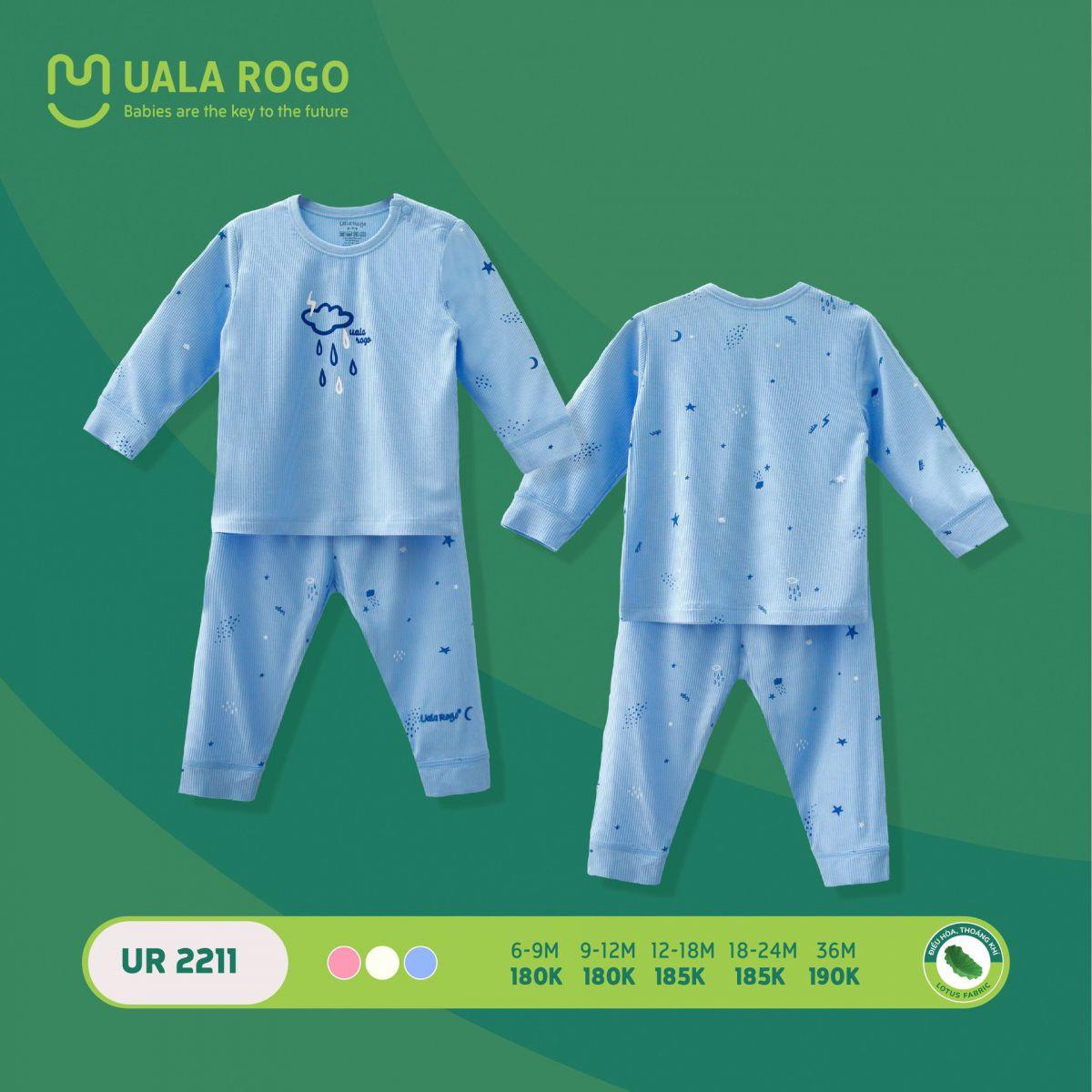 UR2211.3 - Bộ quần áo dài tay sơ sinh vải sợi sen Uala Rogo - Màu xanh