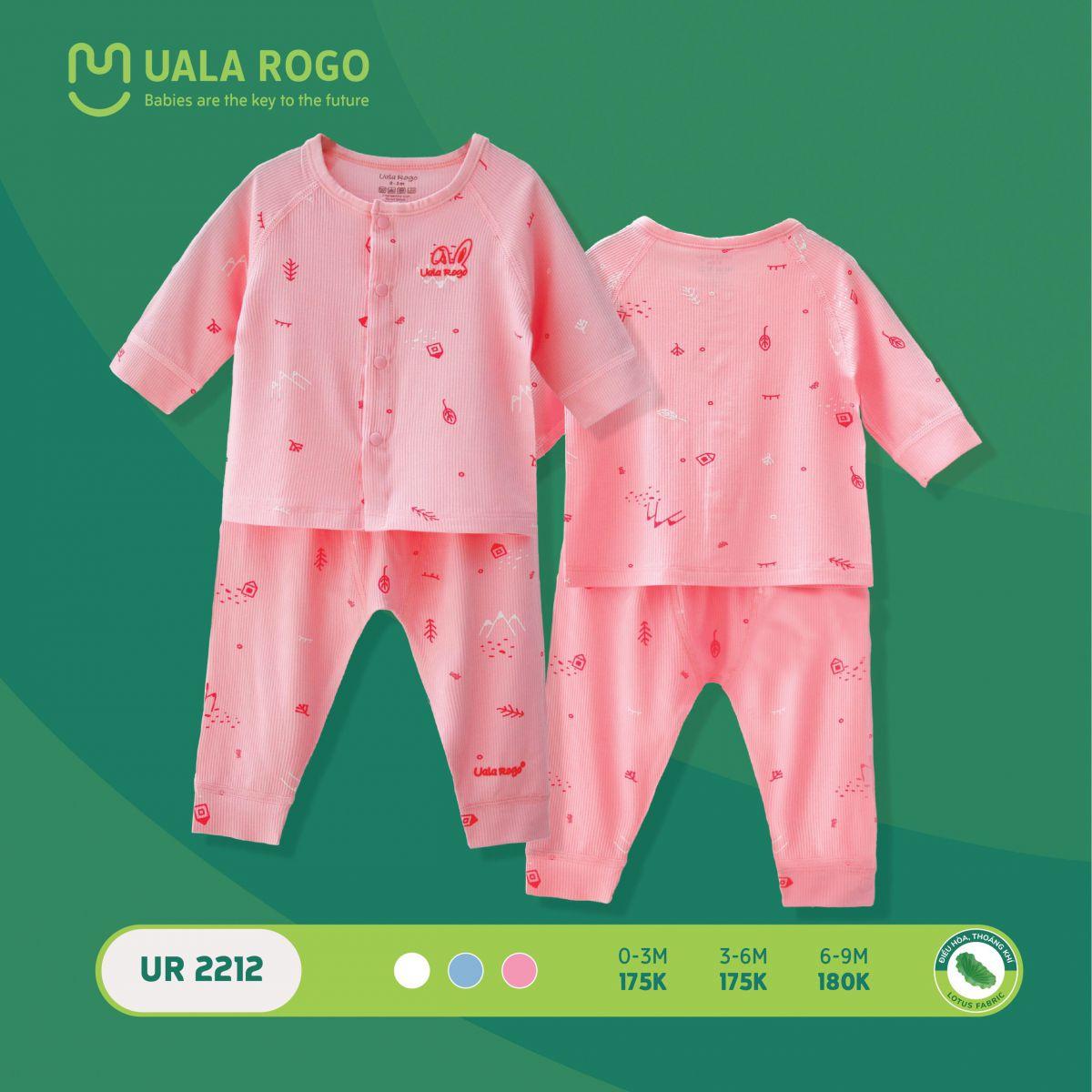 UR2212.1 - Bộ quần áo dài tay sơ sinh cài giữa vải sợi sen Uala Rogo - Màu hồng