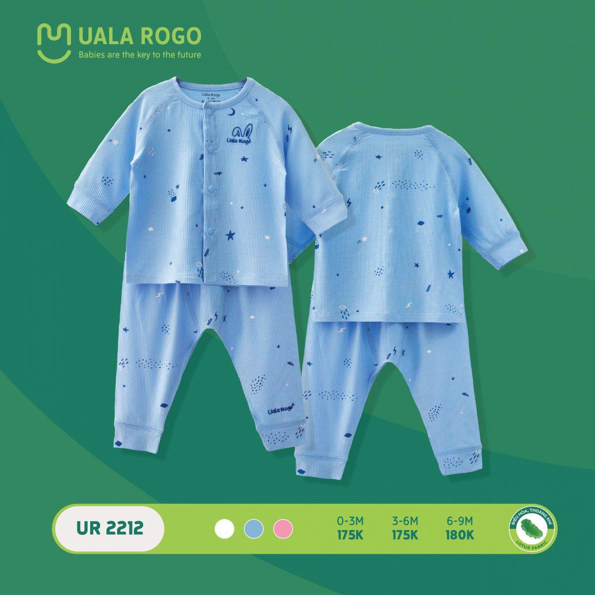 UR2212.3 - Bộ quần áo dài tay sơ sinh cài giữa vải sợi sen Uala Rogo - Màu xanh