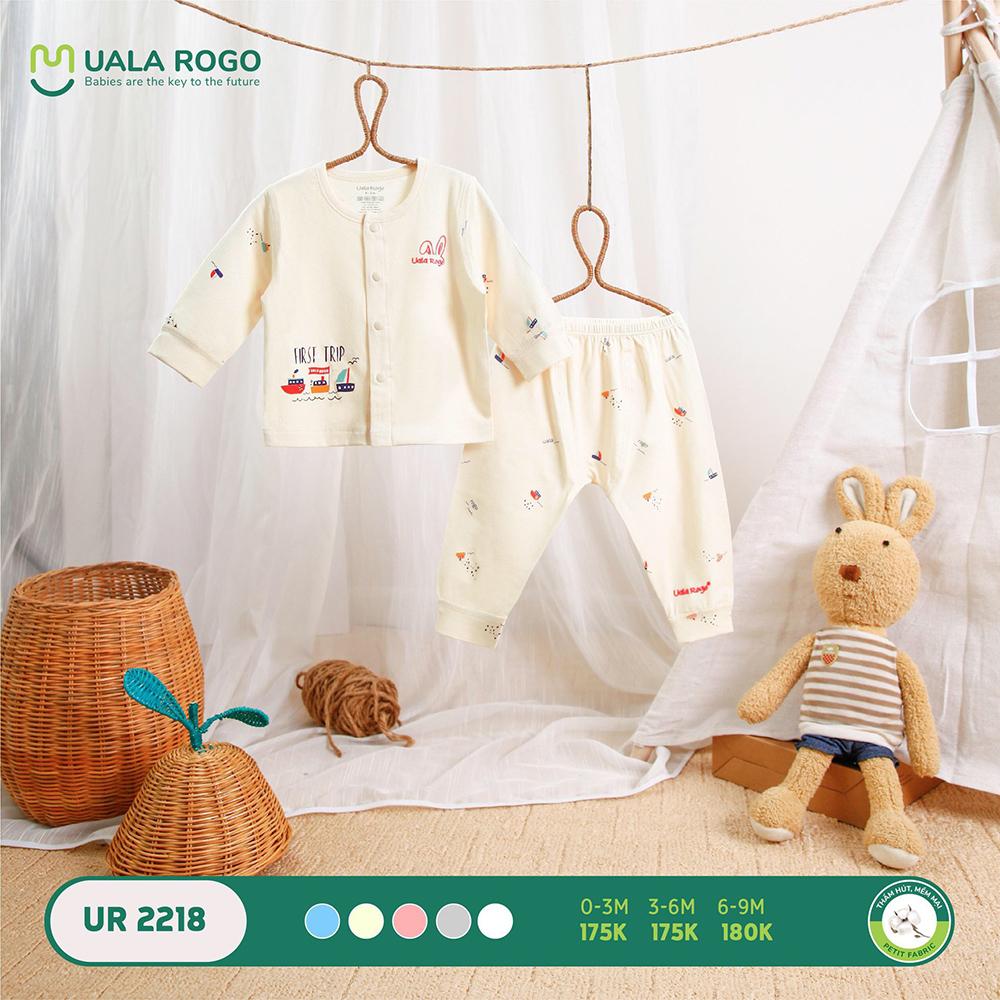 UR2218.1 - Bộ dài tay cài giữa vải petit Uala Rogo - Màu kem