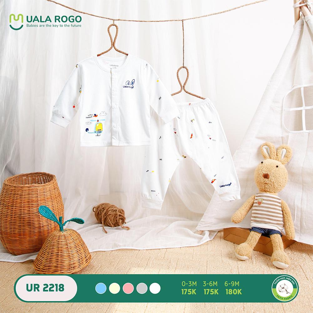 UR2218.3 - Bộ dài tay cài giữa vải petit Uala Rogo - Màu trắng