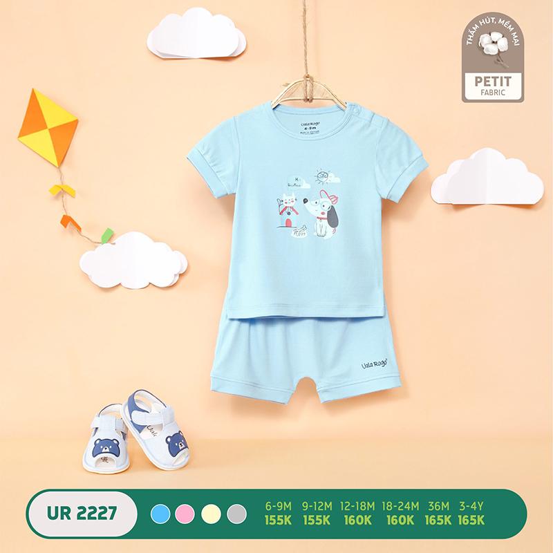 UR2227.1 - Bộ quần áo Uala Rogo cộc tay in hình bé cún vải petit - Màu xanh dương