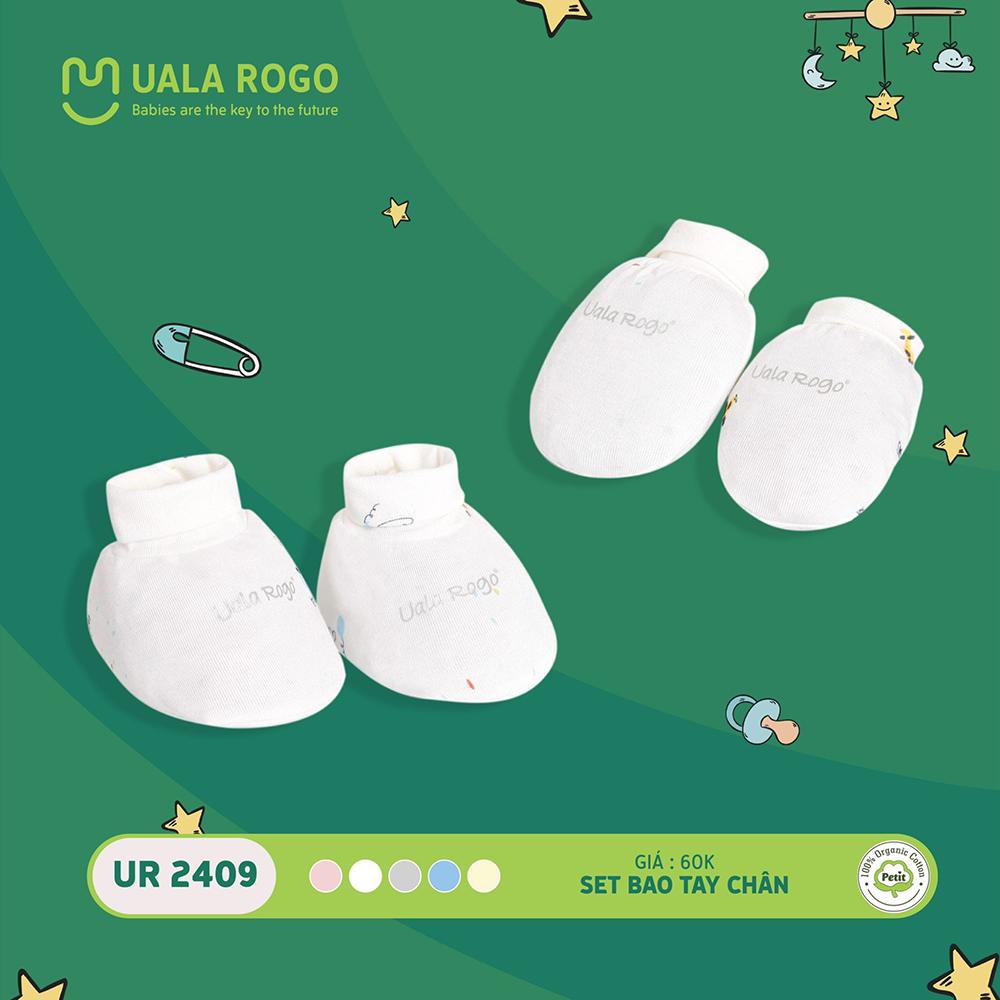 UR2409.1 - Set bao tay bao chân sơ sinh vải petit Uala Rogo - Màu trắng