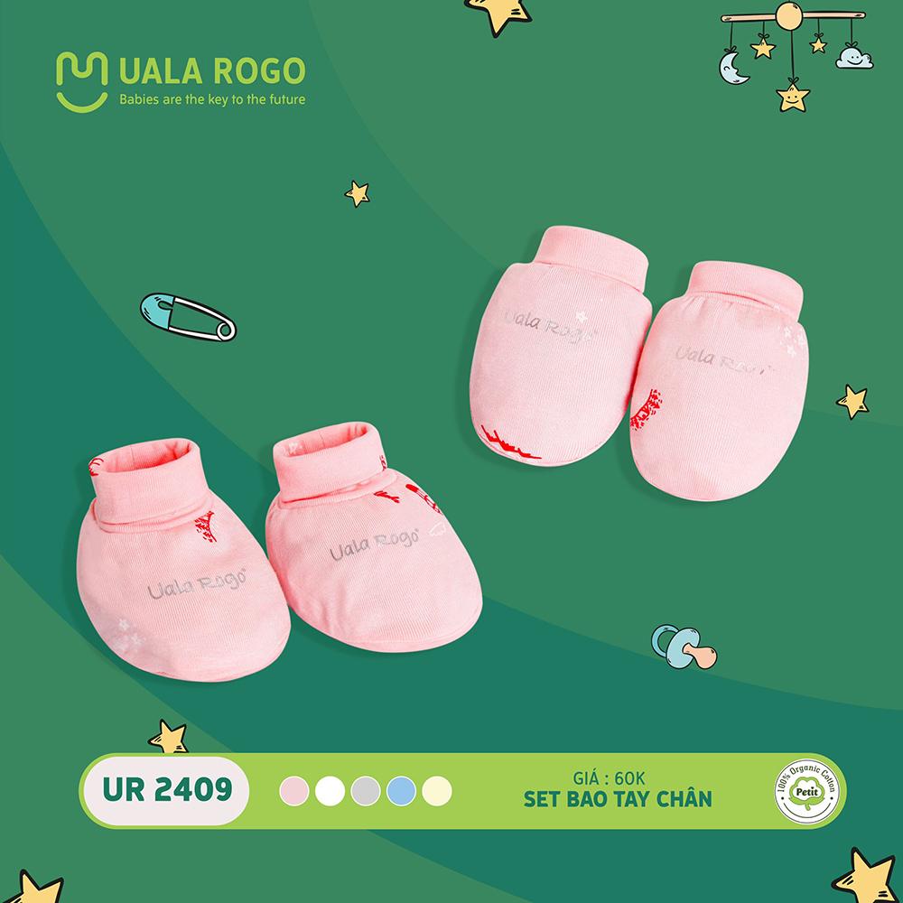UR2409.4 - Set bao tay bao chân sơ sinh vải petit Uala Rogo - Màu hồng