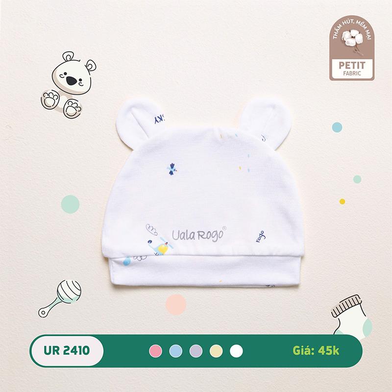 UR2410.1 - Mũ sơ sinh Uala Rogo tai gấu vải petit - Màu trắng