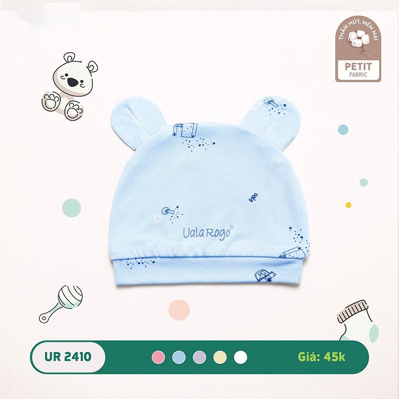 UR2410.5 - Mũ sơ sinh Uala Rogo tai gấu vải petit - Màu xanh