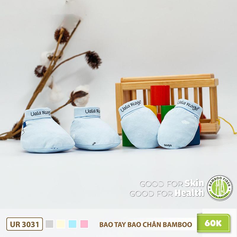 UR3031.4 - Bao tay bao chân sơ sinh Uala Rogo vải sợi tre - Màu Xanh