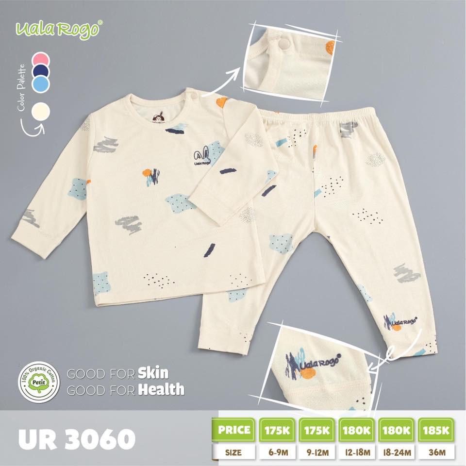 UR3060.3 - Bộ dài tay cài vai vải petit Uala Rogo - Be