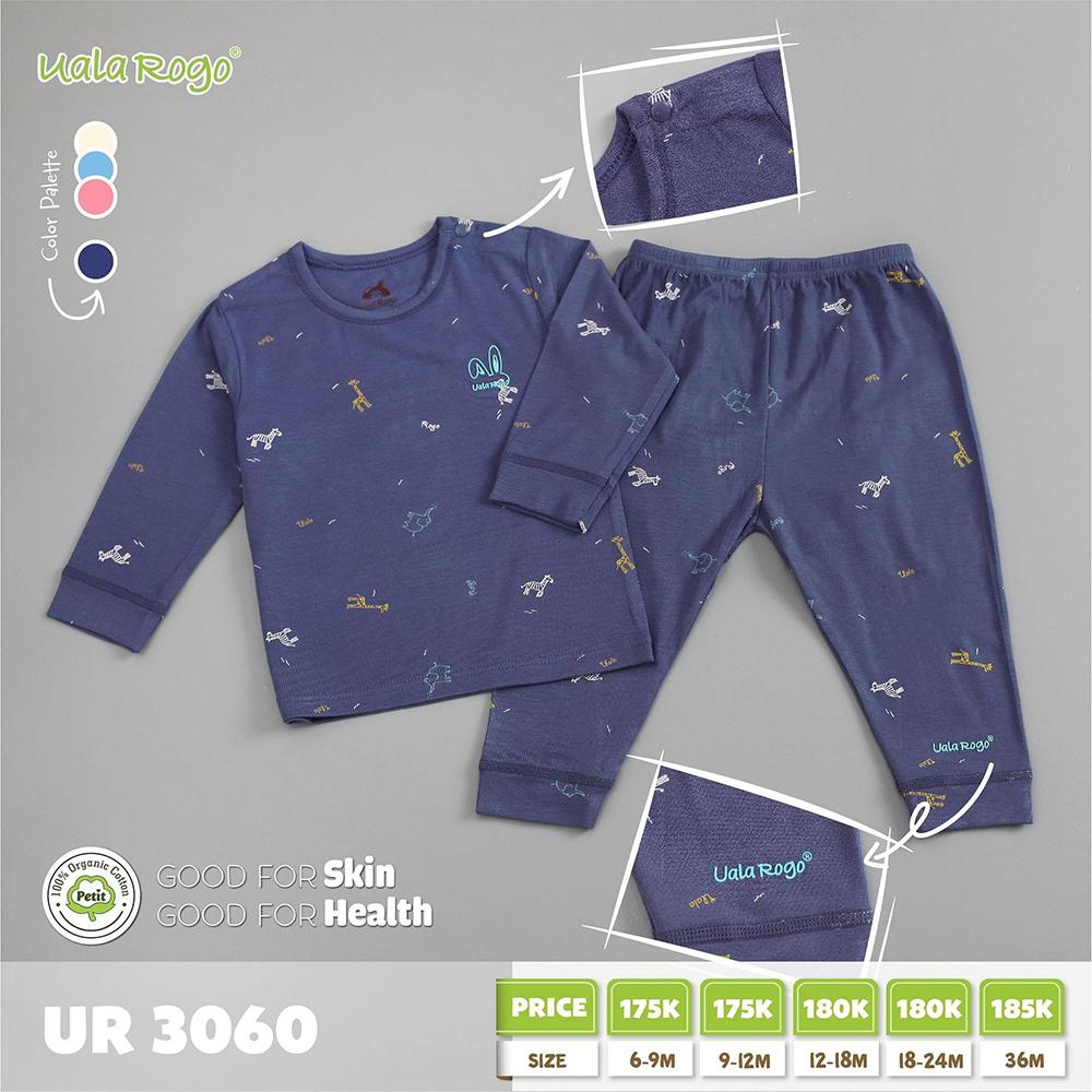 UR3060.5 - Bộ dài tay cài vai vải petit Uala Rogo - Xanh đậm