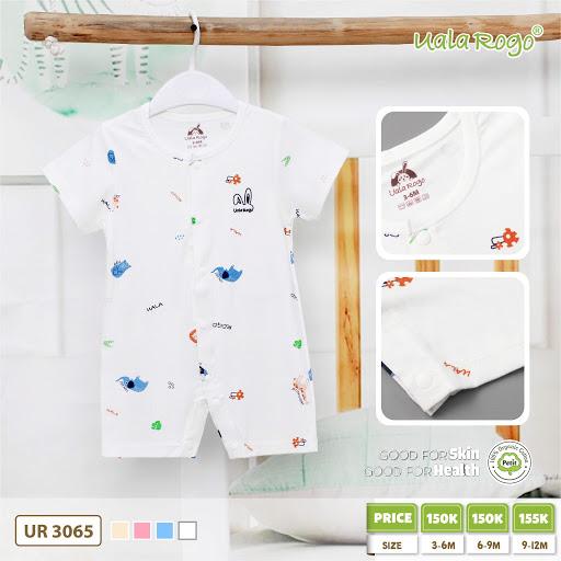 UR3065.2 - Boby ngắn tay cài nút giữa cho bé vải petit - Màu trắng