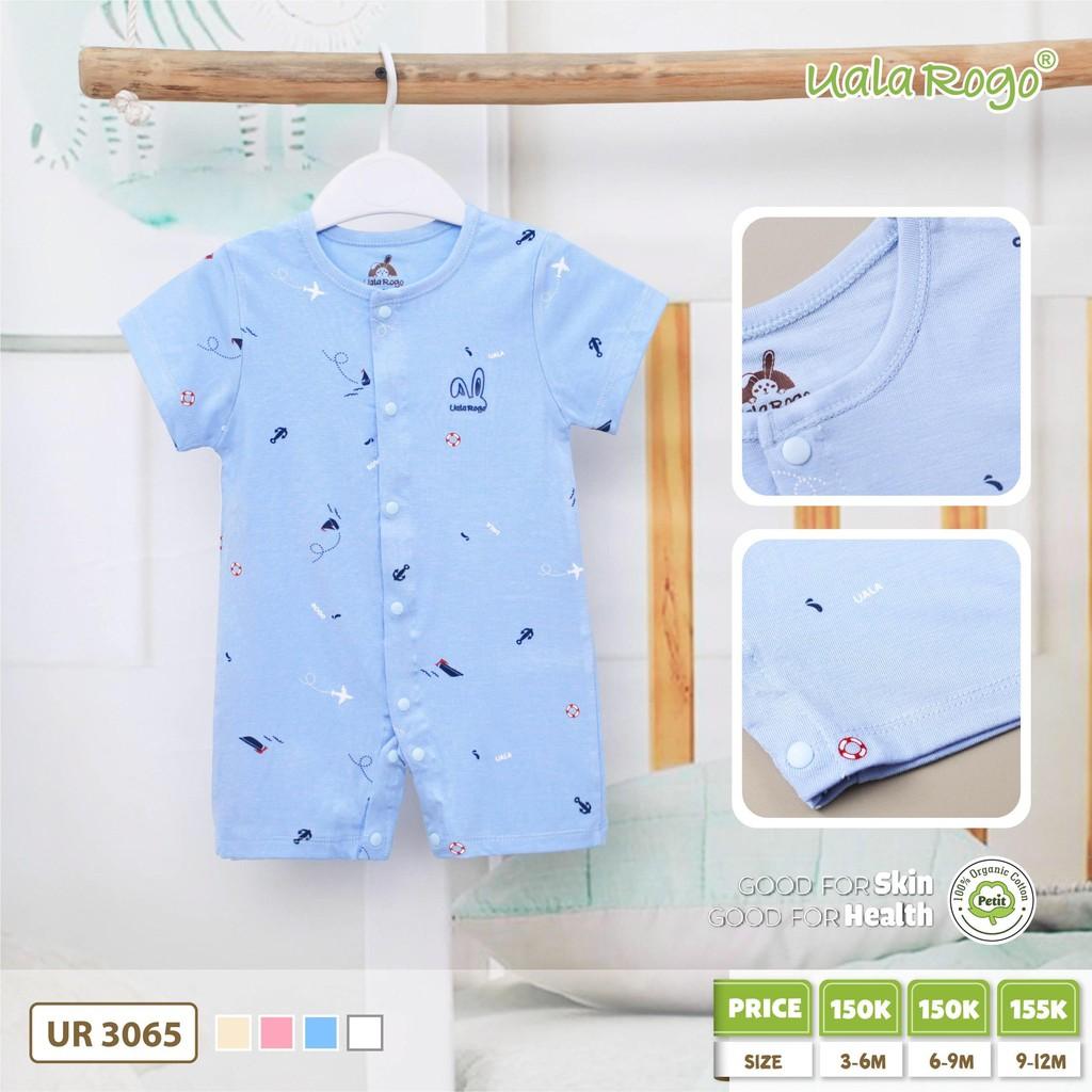 UR3065.3 - Boby ngắn tay cài nút giữa cho bé vải petit - Màu xanh