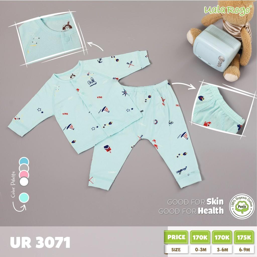 UR3071.4 - Bộ dài tay cúc giữa Petit cho bé Uala Rogo - Màu xanh lam