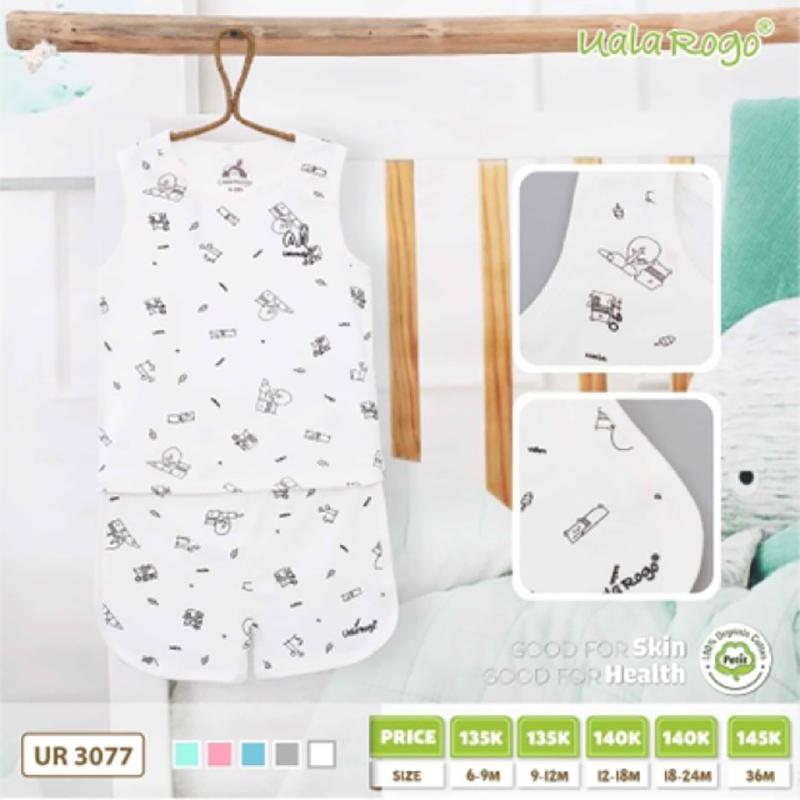 UR3077.1 - Bộ cộc tay cho bé Uala Rogo vải petit - Màu trắng