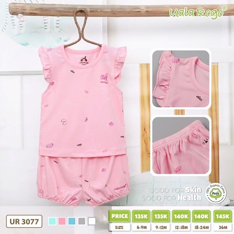 UR3077.4 - Bộ cộc tay cho bé Uala Rogo vải petit - Màu hồng