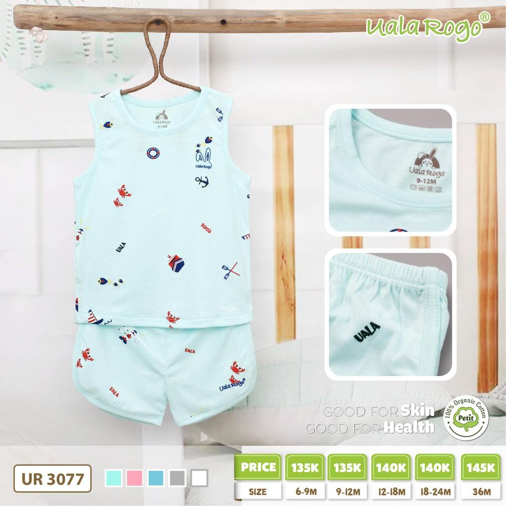 UR3077.5 - Bộ cộc tay cho bé Uala Rogo vải petit - Màu xanh lá