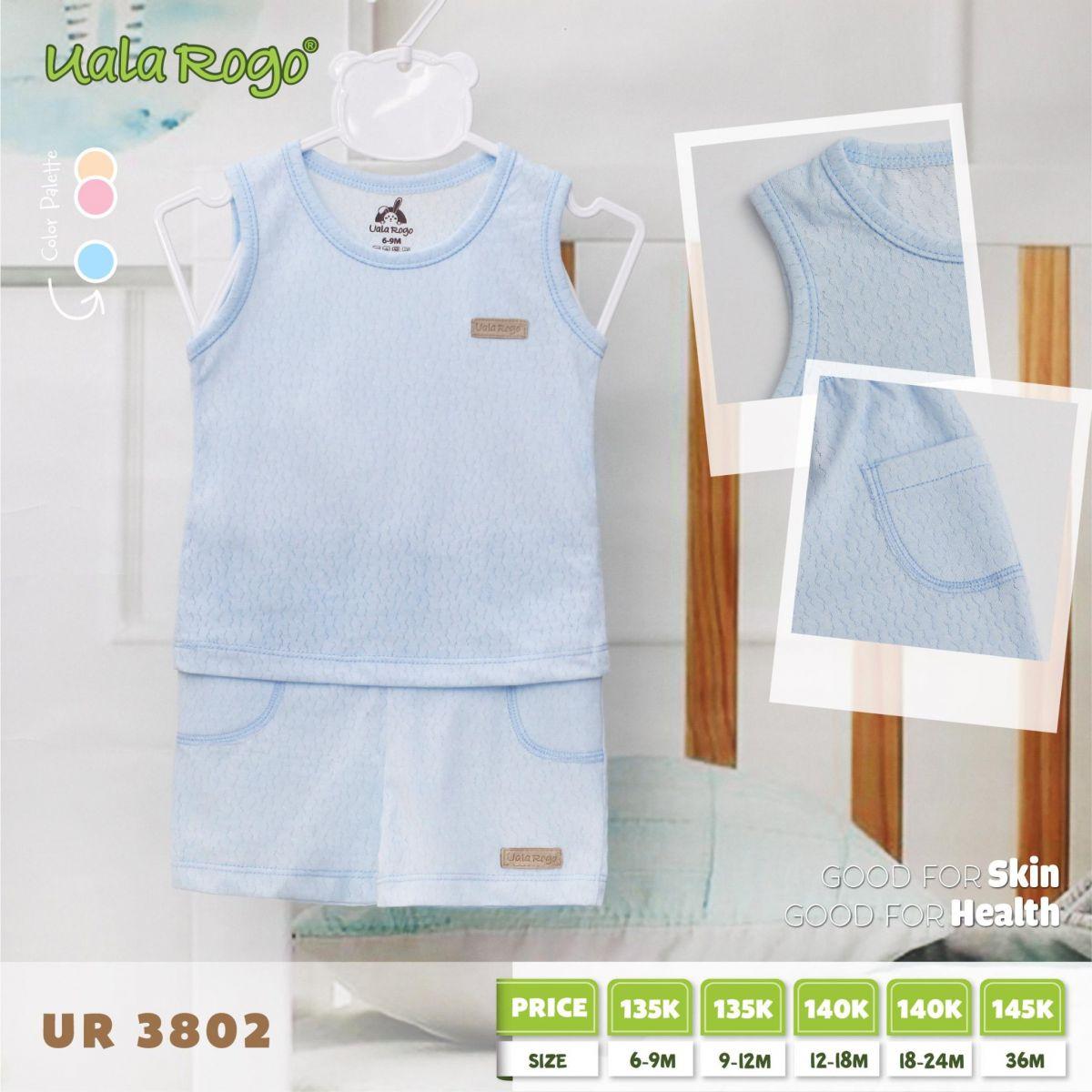 UR3082.1 - Bộ cộc tay có túi cho bé - Màu xanh