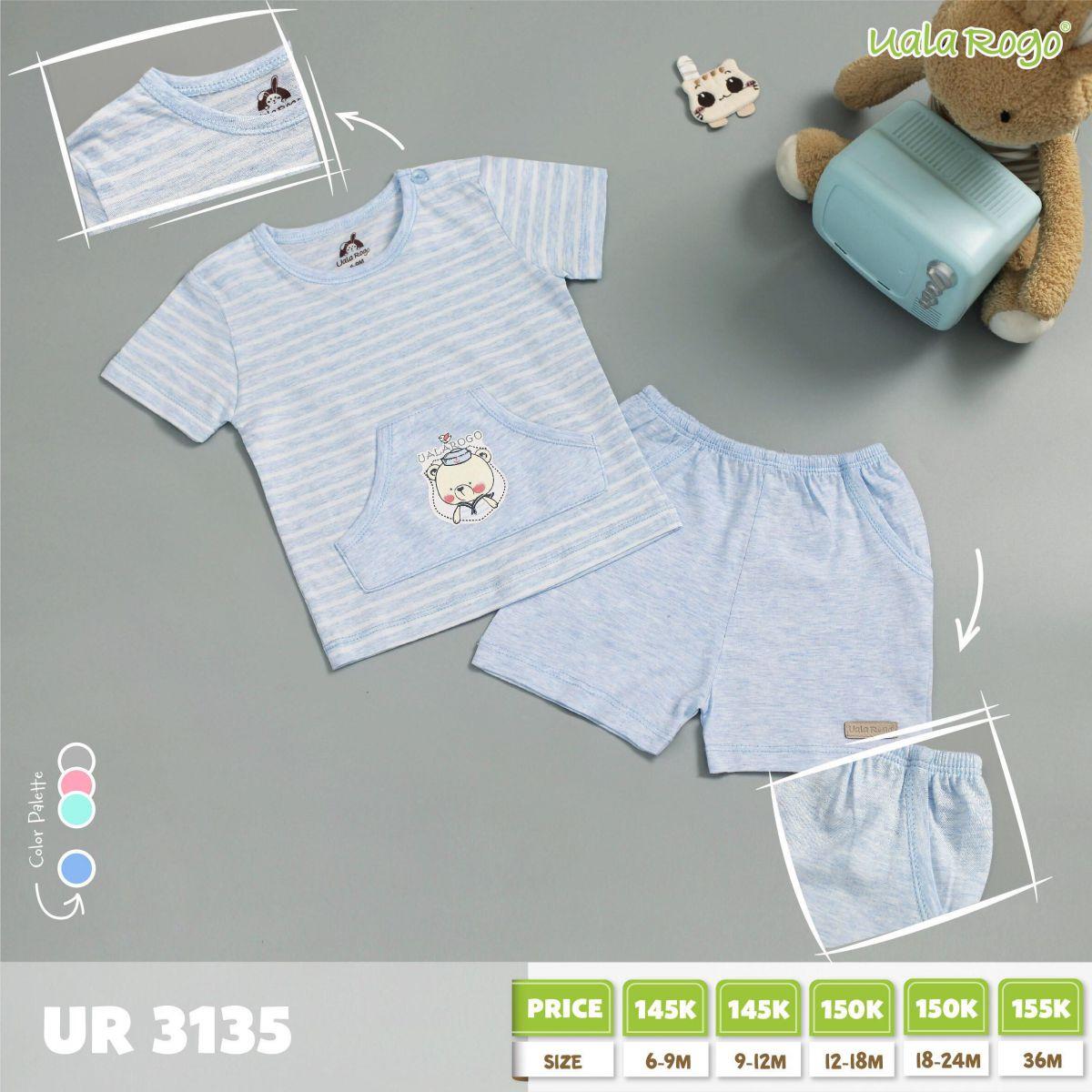 UR3135.2 - Bộ tay ngắn có túi cài nút vai cho bé - Màu xanh dương