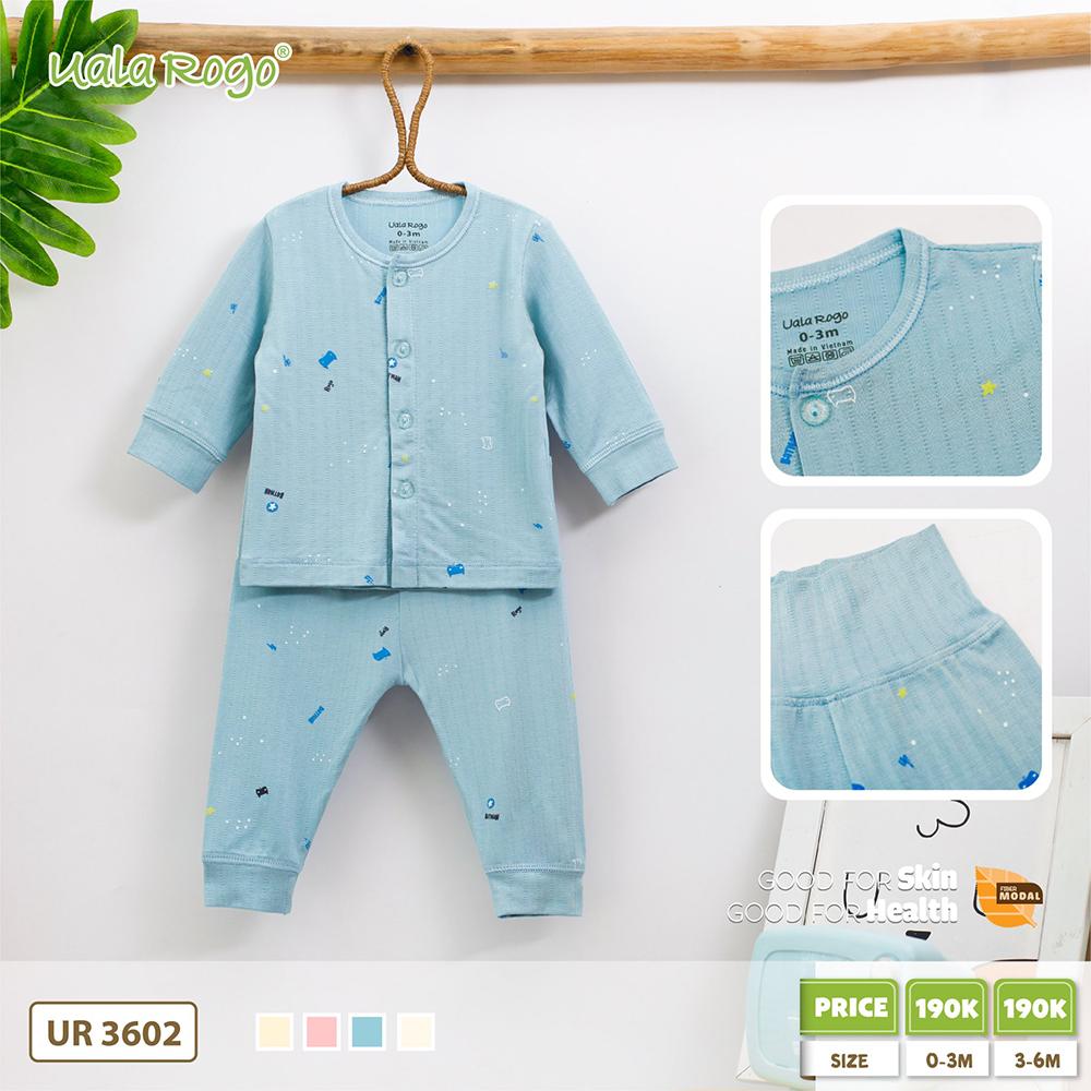 UR3602.7 - Bộ áo dài tay và quần dài tay cài giữa Uala Rogo - xanh dương