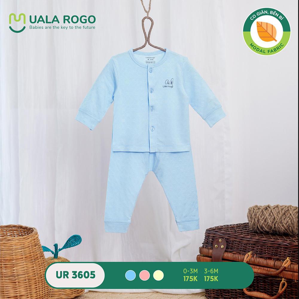 UR3605.1 - Bộ dài tay cài giữa vải sồi Uala Rogo - Màu xanh