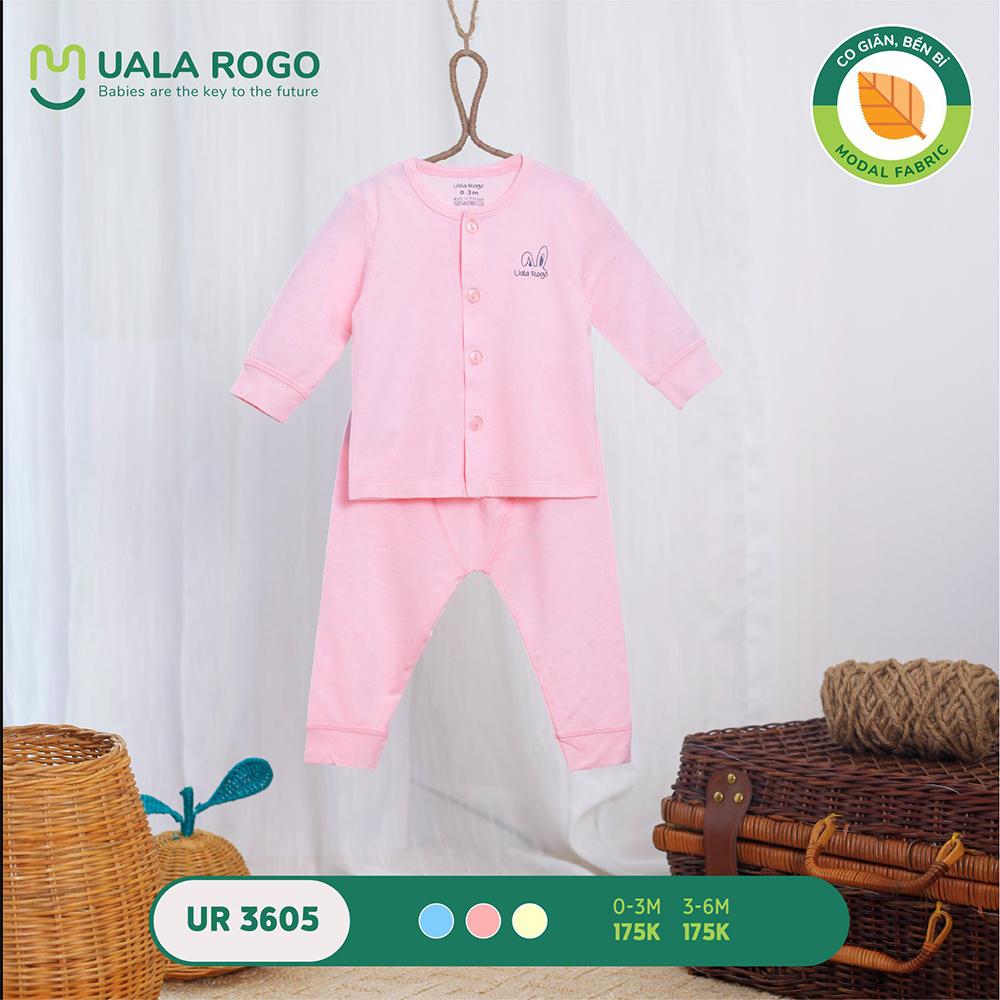 UR3605.3 - Bộ dài tay cài giữa vải sồi Uala Rogo - Màu hồng