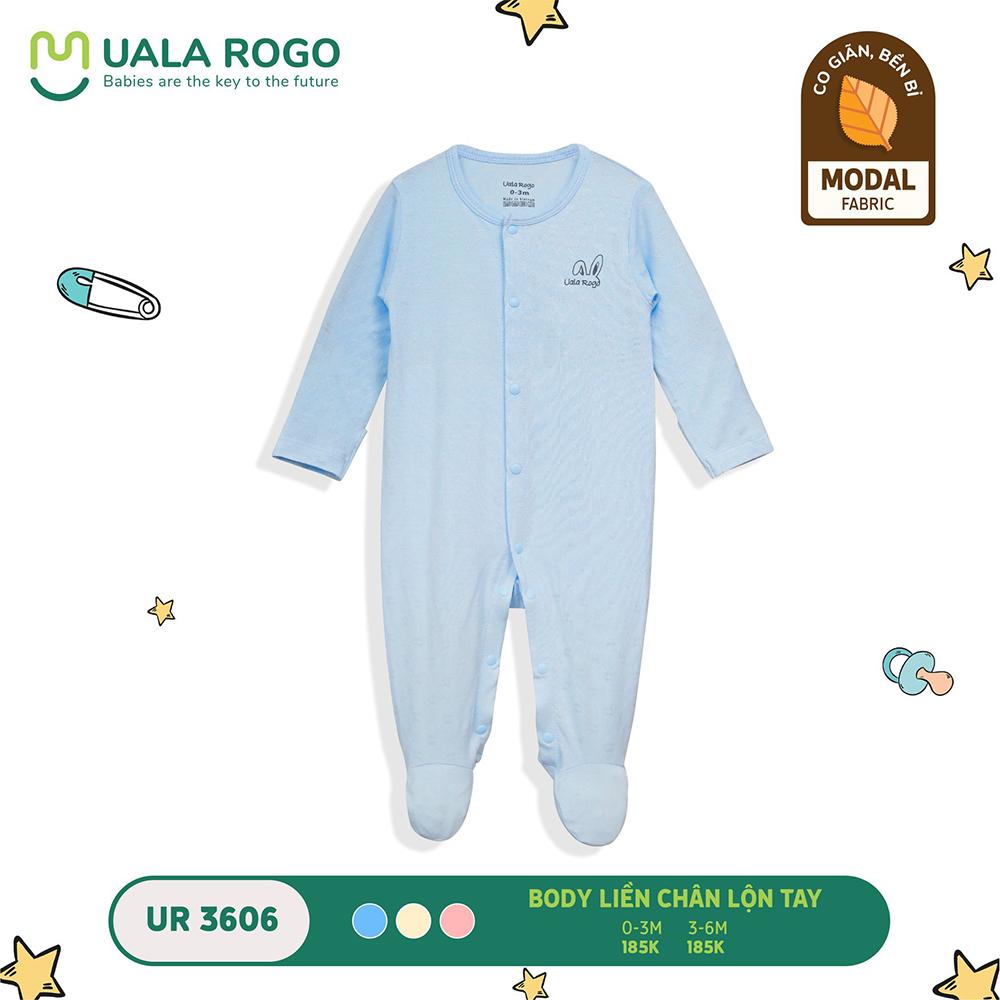 UR3606.3 - Bộ body dài liền chân lộn tay vải sợi sồi Uala Rogo - Màu xanh
