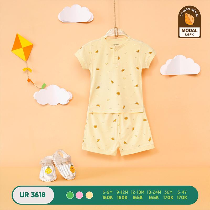 UR3618.2 - Bộ quần áo Uala Rogo cộc tay vải sợi sồi - Màu vàng