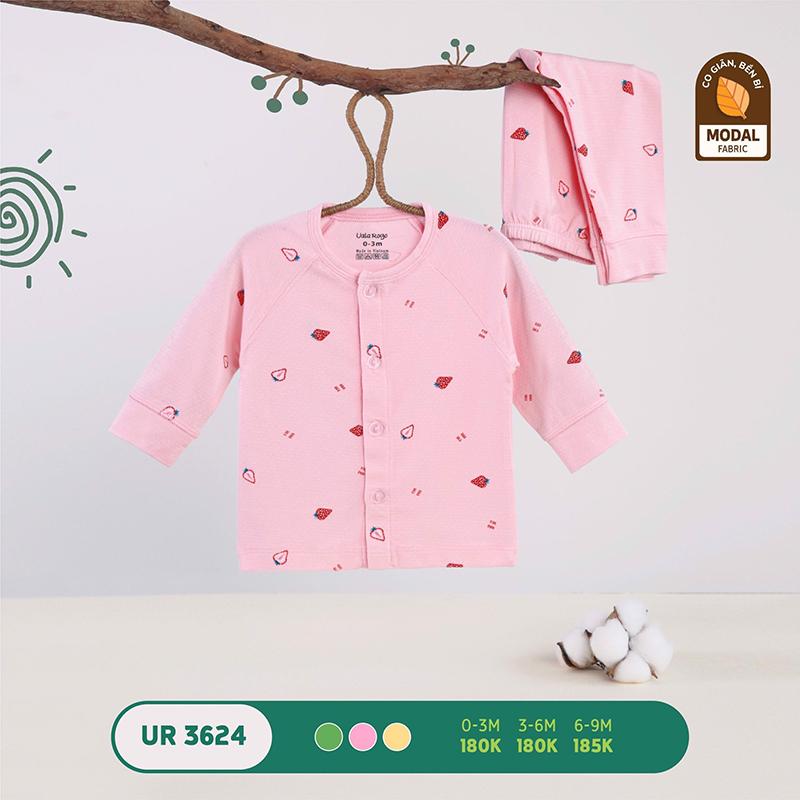 UR3624.1 - Bộ quần áo Uala Rogo dài tay cài giữa vải sợi sồi - Màu hồng