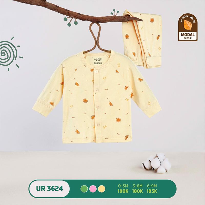 UR3624.2 - Bộ quần áo Uala Rogo dài tay cài giữa vải sợi sồi - Màu vàng