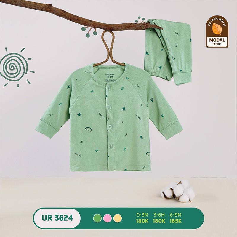 UR3624.3 - Bộ quần áo Uala Rogo dài tay cài giữa vải sợi sồi - Màu xanh