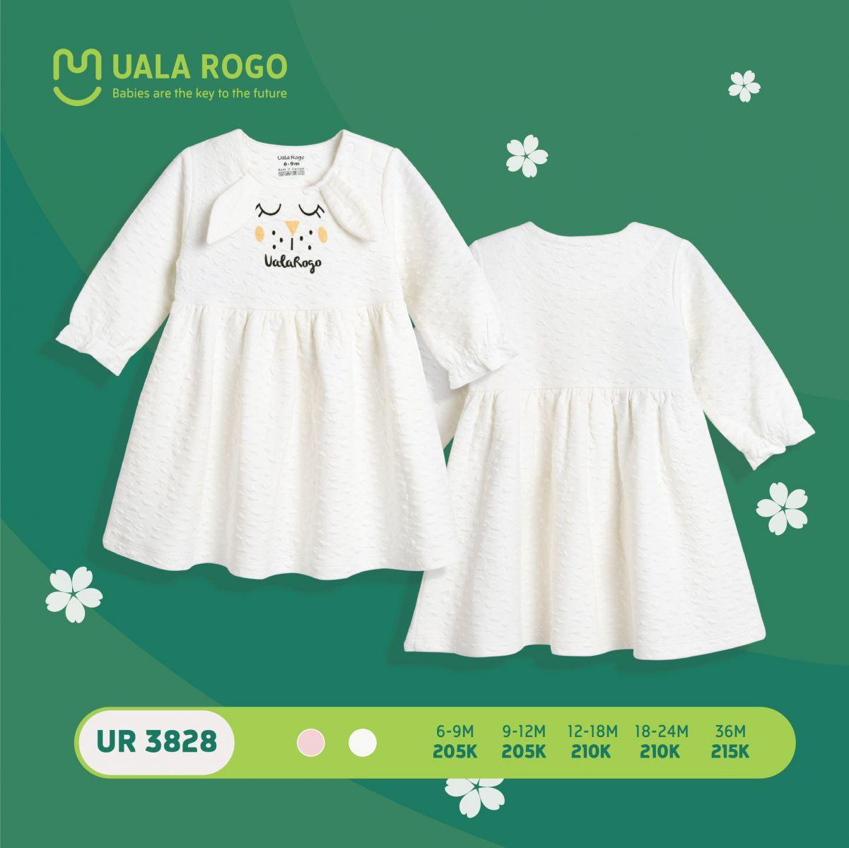 UR3828.1 - Váy đầm vải nỉ Uala Rogo màu trắng