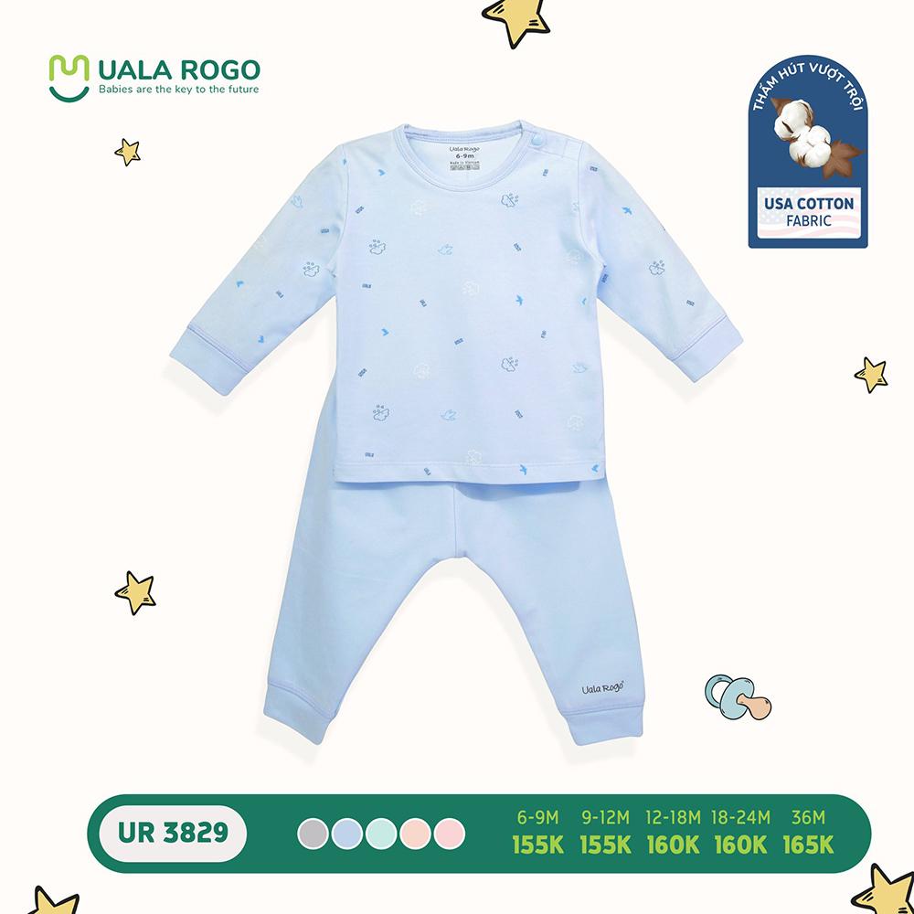 UR3829.1 - Bộ quần áo dài tay cài vai vải cotton Uala Rogo - Màu xanh dương