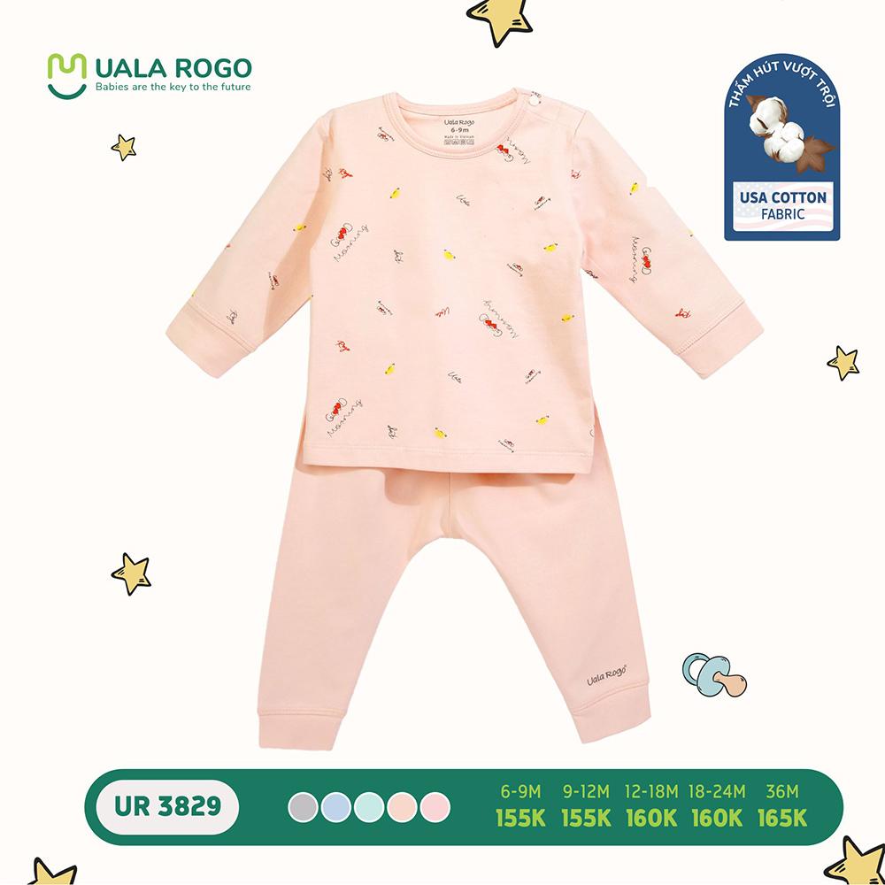 UR3829.3 - Bộ quần áo dài tay cài vai vải cotton Uala Rogo - Màu cam