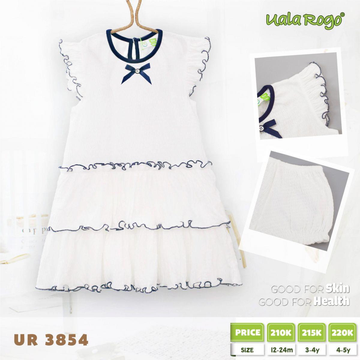UR3854 - Đầm cho bé Uala Rogo - Màu trắng