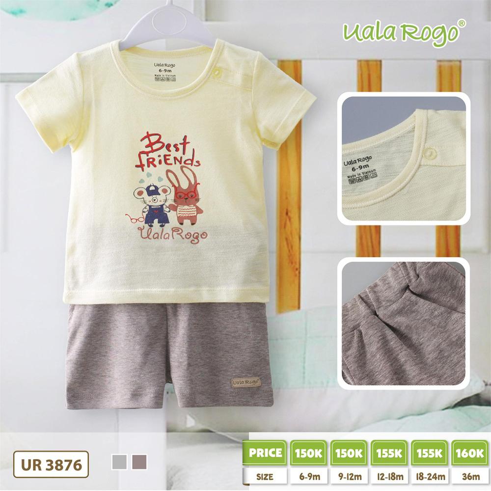 UR3876.1 - Set quần áo cộc cho bé trai Uala Rogo - Màu vàng & nâu
