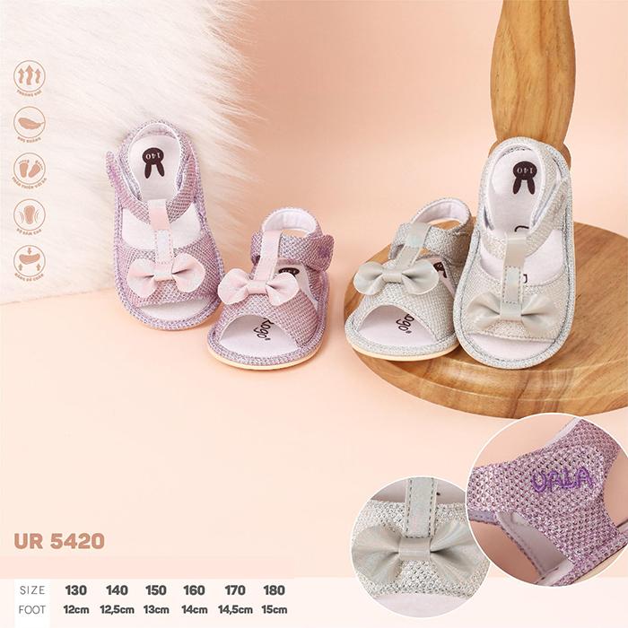UR5420 - Giày tập đi cho bé gái Uala Rogo đế cao su non