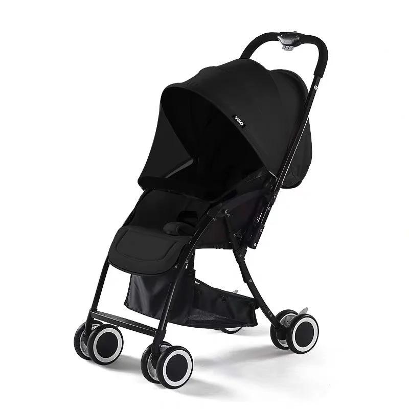Xe đẩy em bé 2 chiều gấp gọn Vovo màu đen