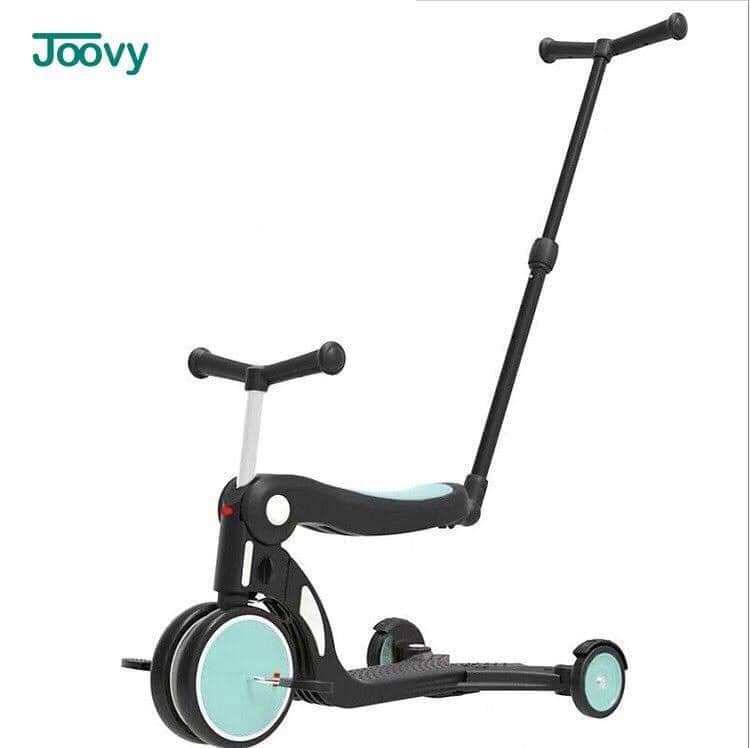 Xe chòi chân, xe 3 bánh - xe cân bằng Joovy kiêm Scooter đa năng 5 trong 1 - N5 Màu xanh (có cần đẩy)