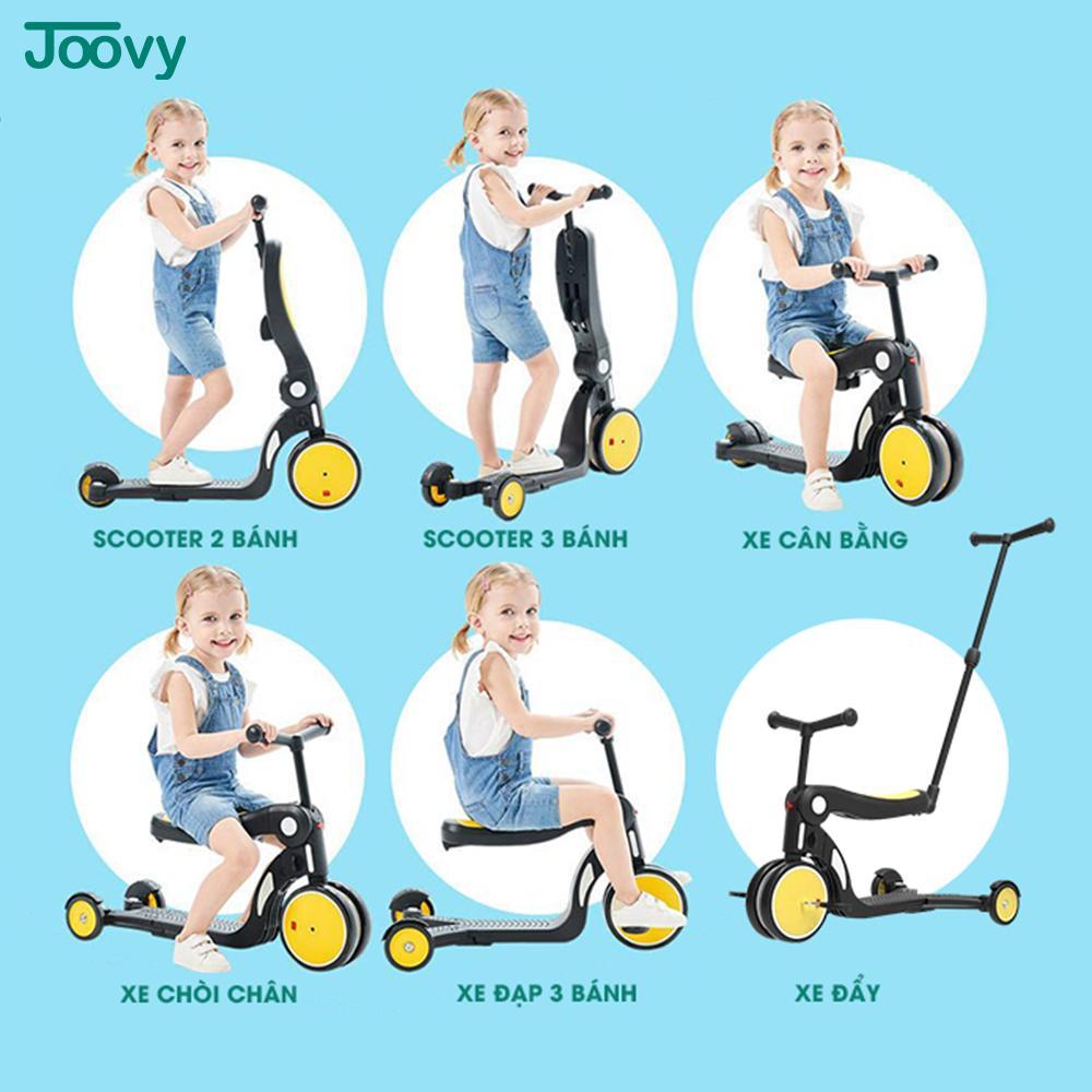Xe chòi chân, xe 3 bánh - xe cân bằng Joovy kiêm Scooter đa năng 5 trong 1 - N5 Màu vàng (không có cần đẩy)