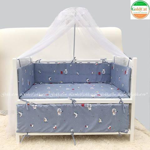 Bộ quây cũi và ga vải bọc đệm cho bé - Chất liệu thô lụa (Hoạ tiết nhiều động vật, 72x110)